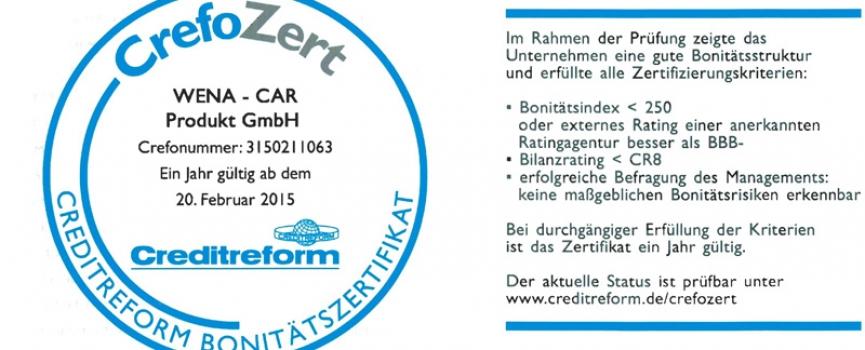 CrefoZert zum zweiten Mal für WENA-CAR Produkt GmbH