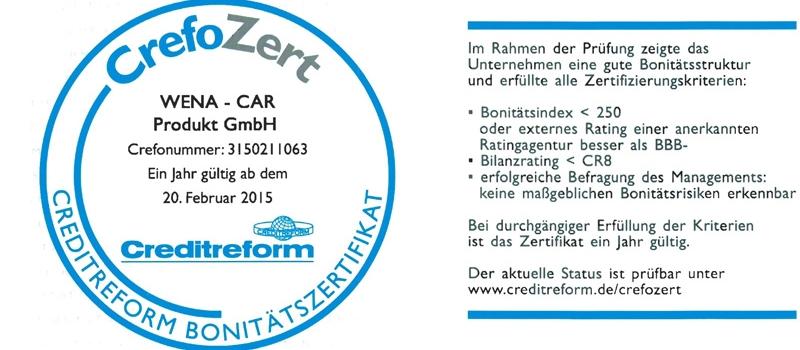 Wena-Car Produkt GmbH Creditform Bonitätszertifikat von 2015 Crefonummer: 3150211063